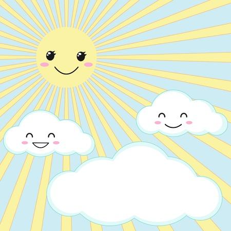 Vector Illustration der lächelnden Sonne und Wolken