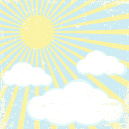 Vector grunge background with sun and clouds Vector