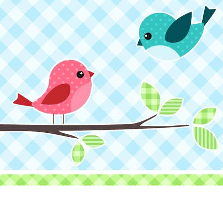gingham: Card with birds on branch with textile background. Illustration