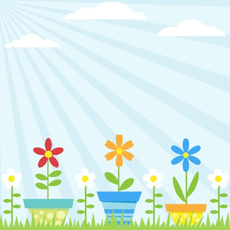 green day baby blue background: Vector background with flowers in pots