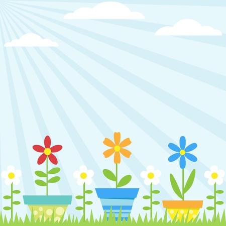 Vector de fondo con flores en macetas