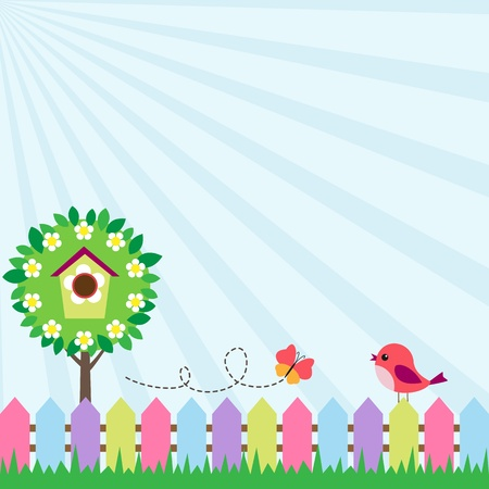 Background with bird and flying butterfly near blooming tree Vector