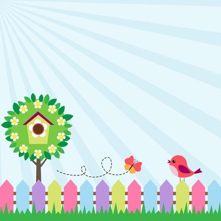 Hintergrund mit Vogel und Schmetterling fliegt in der Nähe blühender Baum