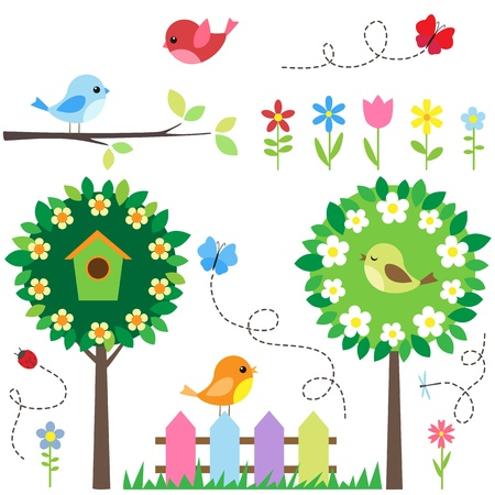 Garden set with birds, blooming trees, flowers and insects.