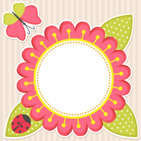 doodle frame: Vector floral frame with butterfly and ladybug