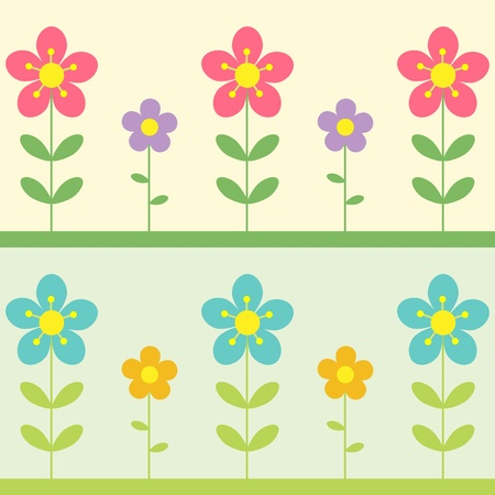 Vector background with flowers. Two variations. Vector