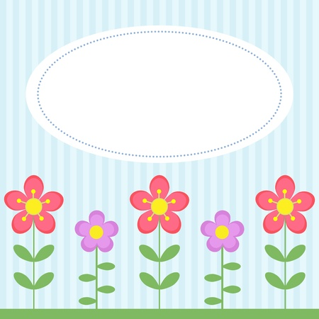 Background with flowers and white frame Vector