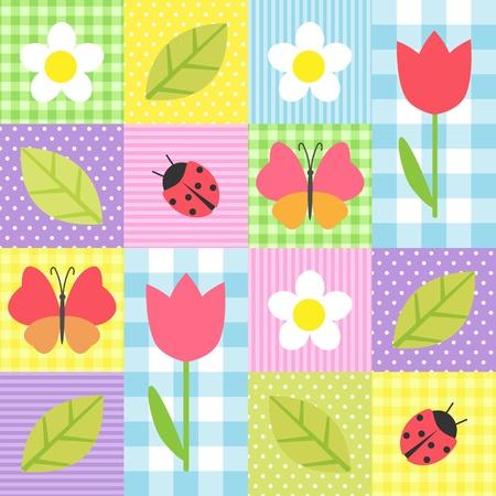 Frühlings-Hintergrund mit Blumen, Schmetterlinge, Marienkäfer und Blätter