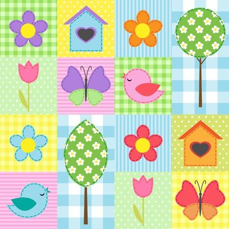 flor caricatura: Primavera de fondo con flores, árboles y mariposas