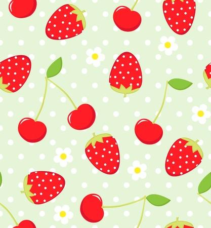 Nahtlose Muster Erdbeere und Kirsche