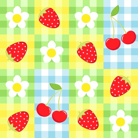Seamless vector strawberry, cherry and flowers pattern Vector