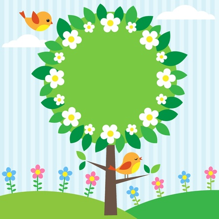 Background with birds, flowers and blooming tree Vector