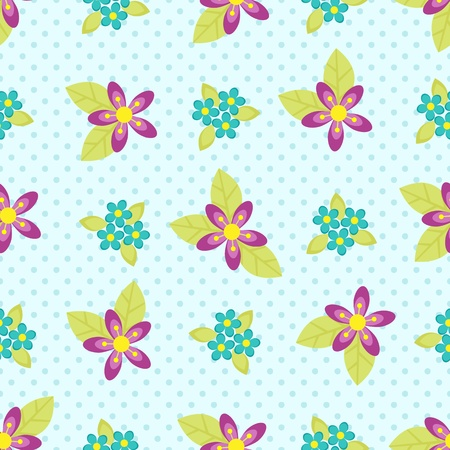 Seamless vector flower pattern on blue polka dots background