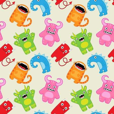 Cartoon monsters seamless vector pattern