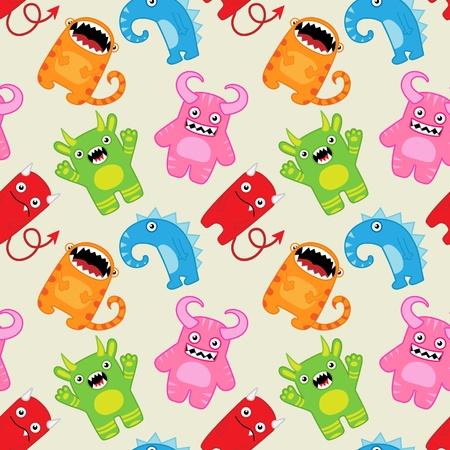 Cartoon monsters seamless vector pattern