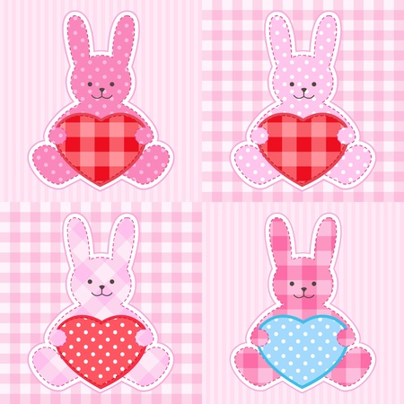 Rabbit cards in pink for girl Vector