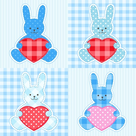 Rabbit cards in blue for boy Vector