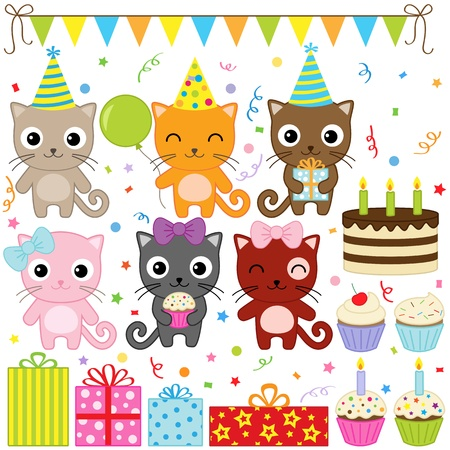 Vector birthday party elements with cute cat  Vector