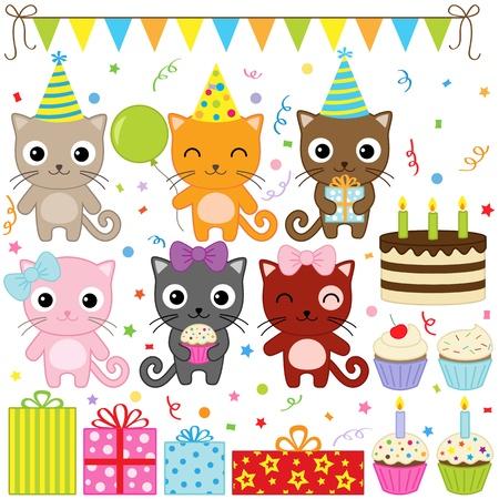 Vector Geburtstagsparty Elementen mit niedlichen Katze Illustration