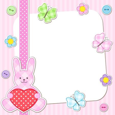 Kaninchen-Karten in rosa für Mädchen Illustration