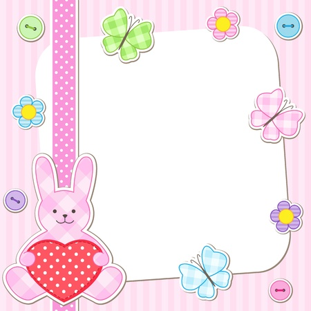 baby shower girl: Rabbit cards in pink for girl Illustration