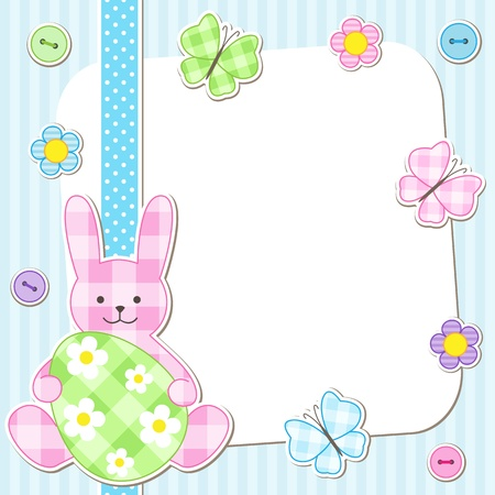 Easter card with bunny holding painted egg Vector