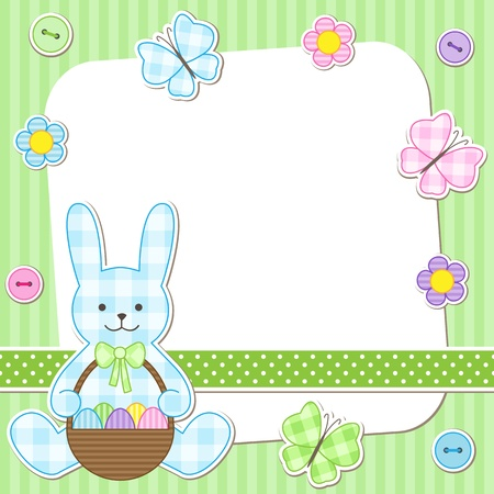 Easter card with bunny holding basket with painted eggs Vector