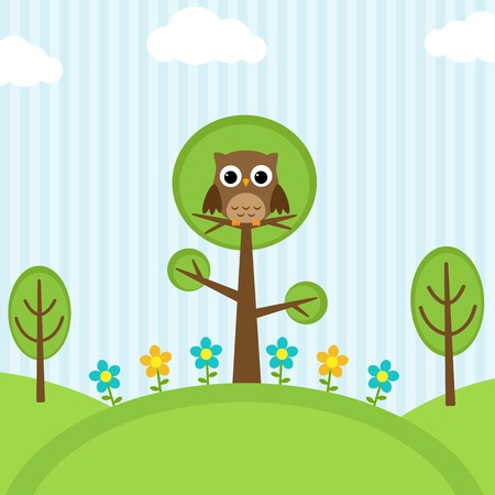Background with owl, flowers and trees