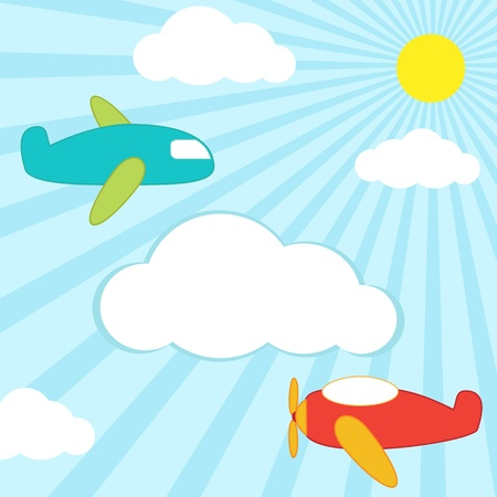 background with planes in the sky and place for text Vector