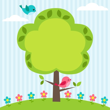 Background with birds, flowers and tree with place for text Stock Illustratie
