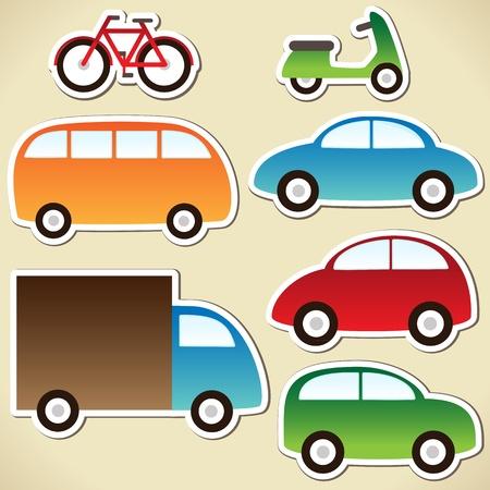 carro caricatura: Transporte establece con los coches de dibujos animados