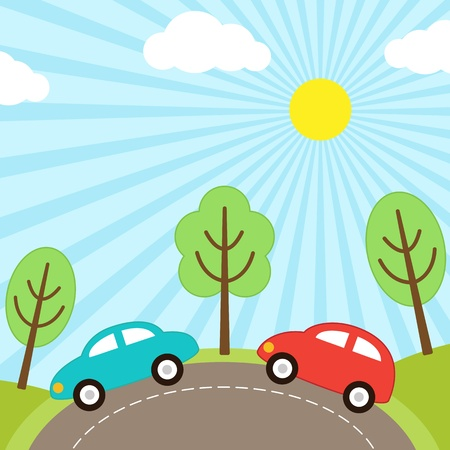 background with cars on the road Vector