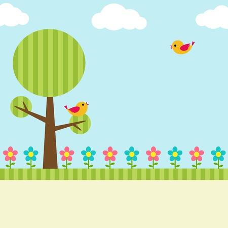 Hintergrund mit Vögeln, Blumen und Baum