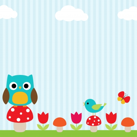 Bright background with owl, bird, butterfly, mushrooms and flowers