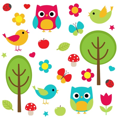 set - owls, birds, flowers, butterflies, ladybugs etc  Vector