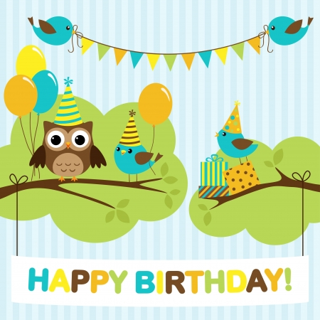 balloon animals: birthday party card with cute birds and owl on trees Illustration