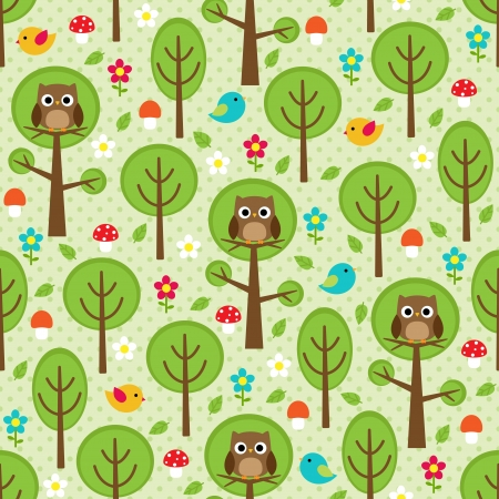 Seamless forest pattern with owls, birds, trees, leafs, mushrooms and flowers