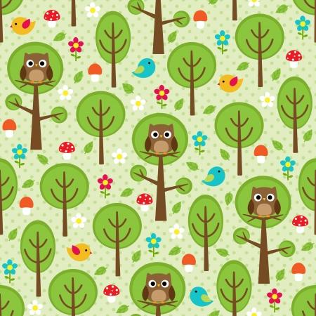 Nahtlose Wald Muster mit Eulen, Vögel, Bäume, Blätter, Pilze und Blumen
