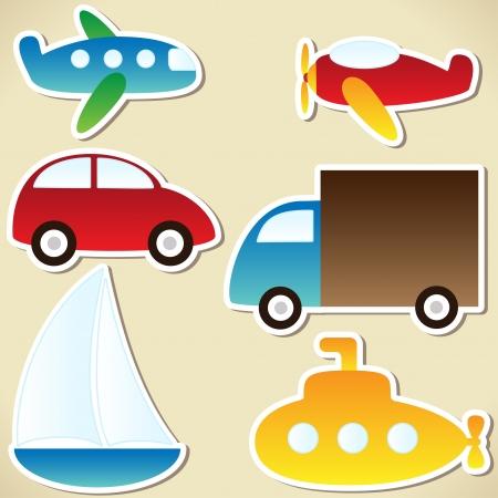 unterseeboot: Transport-Set - Karikatur Auto, LKW, U-Boot, Schiff, Flugzeug Illustration