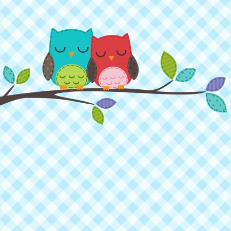 backgrounds with couple of owls on the branch Vector