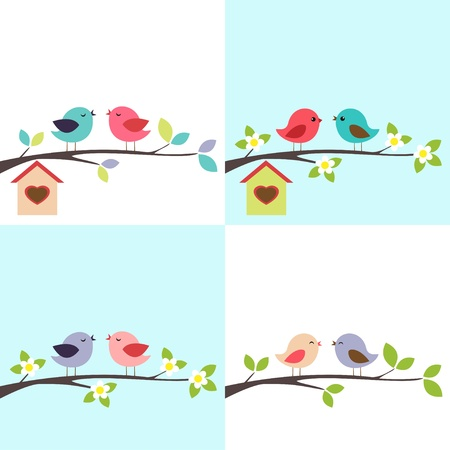 4 backgrounds with couple of  birds on the branch Stock Illustratie