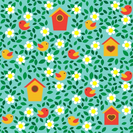 Birds and birdhouses among flowers and leafs  Seamless pattern  Vector