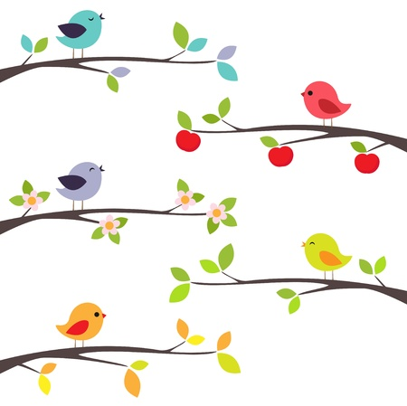 Birds on different branches Stock Illustratie