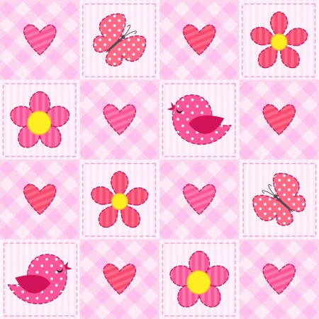 Pink seamless pattern with birds, flowers and hearts Vector