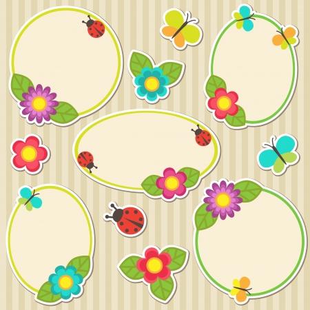 mariquitas: Cuadros con flores Vectores