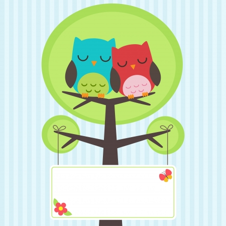 owl on branch: Vector backgrounds with couple of owls on the tree