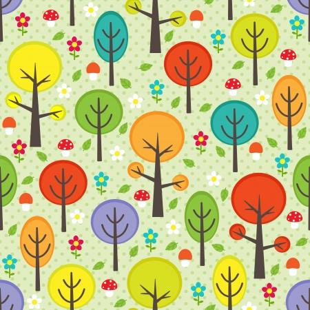 Vektor nahtlose Muster Wald mit Bäumen