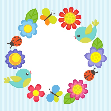 Frame with flowers, birds, ladybugs and butterflies Stock Illustratie