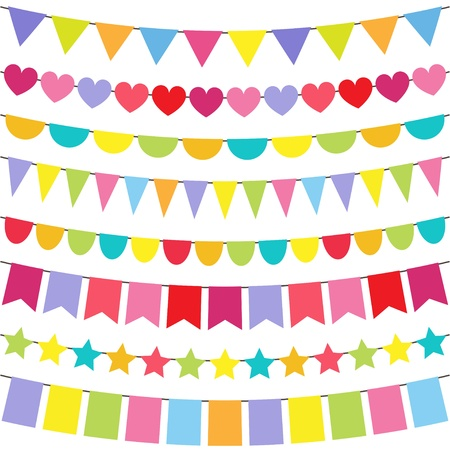 bunting flags: Vector colorful and bright bunting set