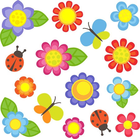Vector flowers, butterflies and ladybugs